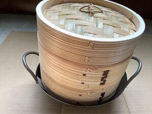 本体18センチ 中華セイロ身2段蓋1段セット 杉製 中華小鍋(20センチ)付 未使用品 せいろ 木製