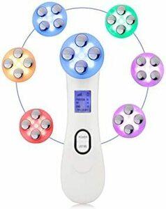 ホワイト 超音波美顔器 イオン導入RFラジオ波EMS微電流6種LED光エステ多機