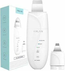 ホワイト ANLAN 2in1 ウォーターピーリング 超音波 ダブルピーリングヘッド 美顔器 ピーリング スマートピール ION