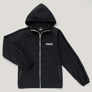 TOM'S トムス ナイロン ジップジャケット パーカー ブラック 黒 左胸 TOM'Sロゴ入り サイズ:L ファッション