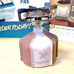 OD缶カバー 本革 レザークラフト ガスランタンカバー シングルガスバーナーカバー キャンプ用品