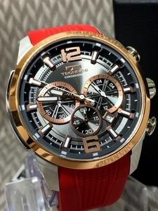 NEWモデル新品テクノスTECHNOS腕時計クロノグラフラバー国内正規保証 3Dフェイス ピンクゴールド【セーム革付き送料無料】