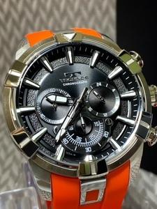 2021 夏 NEWモデル新品テクノスTECHNOS正規品腕時計メンズクロノグラフスポーツラバーベルトオレンジ【セーム革付き送料無料】