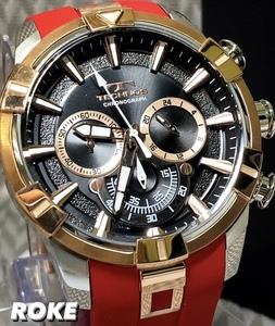 新品 テクノス TECHNOS 正規品 腕時計 メンズ クロノグラフ スポーツ ラバーベルト レッド×ピンクゴールド ビックフェイス NEWモデル