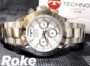 新品テクノスTECHNOS正規品クロノフラフ腕時計ホワイト ビジネスウォッチ ダイバー腕時計 【セーム革付き送料無料】
