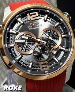 NEWモデル 新品 テクノス TECHNOS 正規品 腕時計 クロノグラフ ラバーベルト ビックフェイス 国内正規保証 3Dフェイス ピンクゴールド