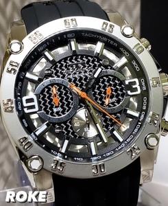 NEWモデル 新品 テクノス TECHNOS 正規品 腕時計 クロノグラフ カーボン文字盤 ラバーベルト ビックフェイス ブラック 国内正規保証