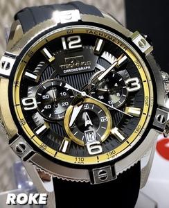 NEWモデル 新品 テクノス TECHNOS 正規品 腕時計 クロノグラフ スポーツ ラバーベルト ビックフェイス ブラック イエロー 国内正規保証