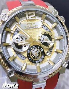 新品 テクノス TECHNOS 正規品 腕時計 メンズ クロノグラフ スポーツ ラバーベルト ビックフェイス レッド×ゴールド ディスクカレンダー