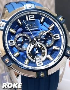 NEWモデル 新品 テクノス TECHNOS 正規品 腕時計 クロノグラフ スポーツ ラバーベルト ビックフェイス ブルー 国内正規保証 メンズ