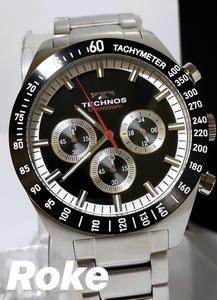 新品 テクノス TECHNOS 正規品 クロノフラフ 腕時計 ブラック 腕時計 ビジネスウォッチ ダイバー腕時計 メンズ タキメーター