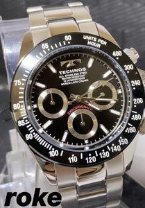 新品 テクノス TECHNOS 正規品 クロノフラフ 腕時計 ブラック 腕時計 ビジネスウォッチ ダイバー腕時計 メンズ プレゼント
