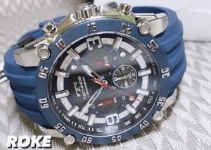 NEWモデル新品テクノスTECHNOS腕時計クロノグラフカーボン文字盤ラバー国内正規保証 ブルー【セーム革付き送料無料】