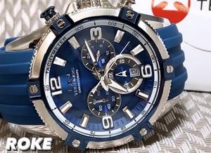 NEWモデル 新品 テクノス TECHNOS 正規品 腕時計 クロノグラフ スポーツ ラバーベルト ビックフェイス ブルー メンズ 国内正規保証