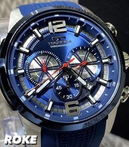 NEWモデル 新品 テクノス TECHNOS 正規品 腕時計 クロノグラフ ラバーベルト ビックフェイス 国内正規保証 3Dフェイス ブルー シルバー