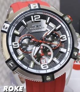 NEWモデル 新品 テクノス TECHNOS 正規品 腕時計 クロノグラフ スポーツ ラバーベルト 国内正規保証 レッド送料無料 セーム革付
