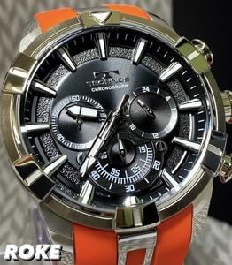 2021 夏 NEWモデル 新品 テクノス TECHNOS 正規品 腕時計 メンズ クロノグラフ スポーツ ラバーベルト ビックフェイス オレンジ