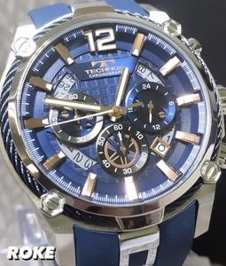 新品 テクノス TECHNOS 正規品 腕時計 クロノグラフ スポーツ ラバーベルト ビックフェイス ブルー× ピンクゴールド ディスクカレンダー