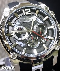 新品 テクノス TECHNOS 正規品 腕時計 クロノグラフ スポーツ ラバーベルト ビックフェイス ブラック×シルバー ディスクカレンダー メンズ