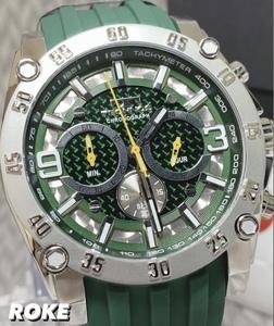 NEWモデル 新品 テクノス TECHNOS 正規品 腕時計 クロノグラフ カーボン文字盤 ラバーベルト ビックフェイス グリーン 国内正規保証