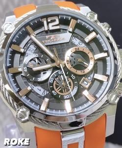 新品 テクノス TECHNOS 正規品 腕時計 クロノグラフ スポーツ ラバーベルト ビックフェイス オレンジ×ピンクゴールド ディスクカレンダー