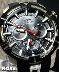 2021 夏 NEWモデル 新品 テクノス TECHNOS 正規品 腕時計 メンズ クロノグラフ スポーツ ラバーベルト ビックフェイス ブラック