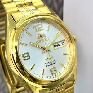 【1円】【新品正規品】ORIENTオリエントメンズ腕時計スリースターアナログ自動巻きオートマチックゴールド金カレンダー3針ホワイトおすすめ