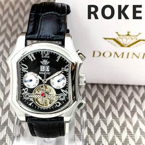 【1円】【人気モデル】ドミニクメンズ腕時計オープンハート暦月日付曜日表示ブラックシルバーレザーバンド革ベルトプレゼントギフト