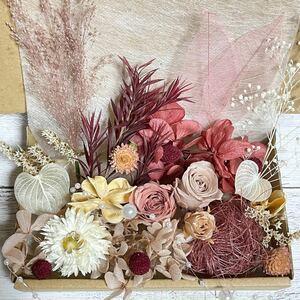 プリザーブドフラワー薔薇2輪★モーブとピンクベージュ 花材詰め合わせ