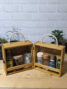 【送料無料】 スパイスボックス 調味料ボックス 調味料ラック コーヒーボックス ライトオーク(2)