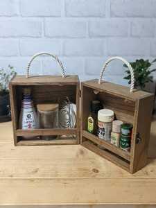 【送料無料】 スパイスボックス 調味料ボックス 調味料ラック コーヒーボックス ウォルナット(1)
