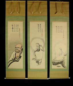 1063■卓洲胡僊 三幅対 釈迦・観音・達磨像画賛 臨済宗妙心寺