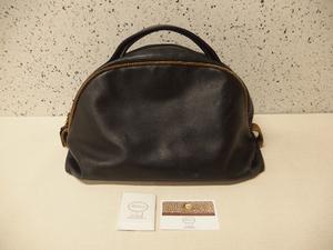 Borbonese redwall ボルボネーゼ レッドウォール ブラックレザー×うずら柄 バッグ/保存袋,しおり付き/中古品