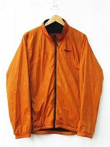 ■ MARMOT マーモット アウトドア ナイロンジャケット スタンドカラー ジップアップ 裏地フリース地 オレンジ Mサイズ