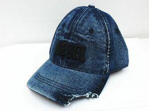 ■ 美品 DIESEL ディーゼル A02534 0EBBR D-BETY デニム ダメージ加工 帽子 キャップ ロゴ刺繍 メンズ インディゴ 表記サイズ2