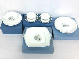 ■美品 WEDGWOOD ウエッジウッド グレンミスト 4点セット カップ&ソーサー(廃盤品) プレート 大皿 角皿 洋食器 保管品