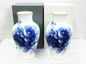■ 大倉陶園 OKURA CHINA ブルーローズ 花瓶 花器 花生 36cm 2個セット フラワーベース 薔薇 バラ 金彩 箱付き