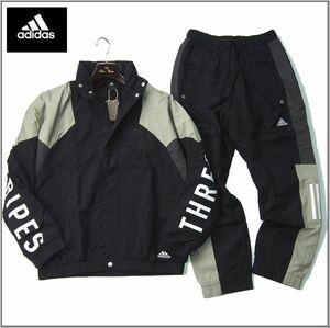 新品 adidas アディダス 上下セット ウーブンジャケット ナイロン パンツ セットアップ ゆるめ 防寒 フード内蔵 O ブラック