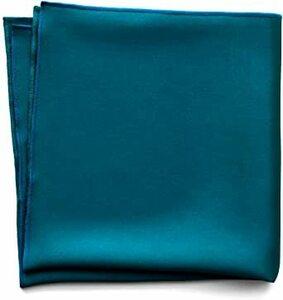 シルク/ピーコックブルー 大判(35cm×35cm) [ウァンダム] ポケットチーフ 絹 16匁 シルク 100% 日本製 大判