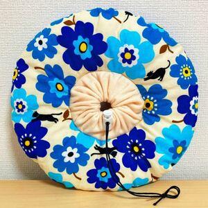 エリザベスカラー ・猫花柄ブルー