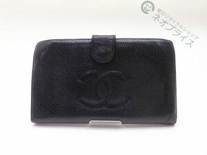 ◆Y4419 CHANEL シャネル ココマーク キャビアスキン がま口 二つ折り 財布