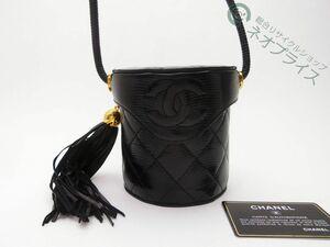 ◆Z9748 CHANEL 激レア シャネル 本リザード マトラッセ フリンジ ミラー付き ミニ バニティ ショルダー バッグ 超美品