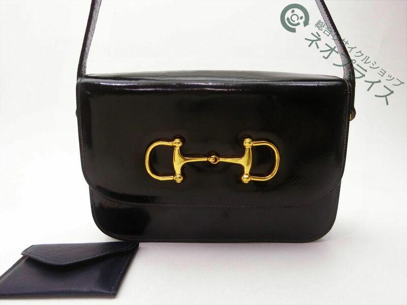 ◆S5991 CELINE セリーヌ デカ ホースビット エナメル レザー ショルダー バッグ