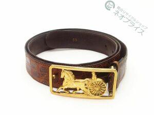 ◆N1180 CELINE セリーヌ 馬車金具 バックル クロコ レザー ベルト