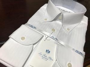 La fete bleu by HITOYOSHI  形態安定 白織柄ワイシャツ M(39-82) ボタンダウン 百貨店販売品