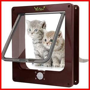 期間限定2V 冷暖房対策 猫扉 取り付け簡単 犬猫用ドア 4ウェイロッキング - 室内用 猫/小型犬用 キャットドアPW94