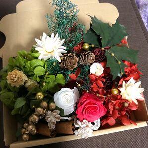 クリスマス花材セット ホワイト/ピンク