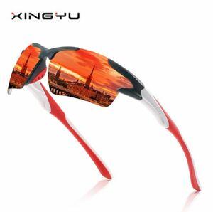 新品★軽量ミラーサングラス◆UV400 オレンジ スポーツ アウトドア 最安値