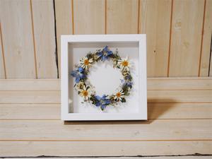 そらーる●ドライフラワーフレーム 野の花 部屋 壁 飾り インテリア 自然な雰囲気/ブルー 約高さ17×幅17×奥行3.5cm/1円スタート/ZS