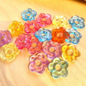 残り2 90g☆約100個 お花のプラビーズ